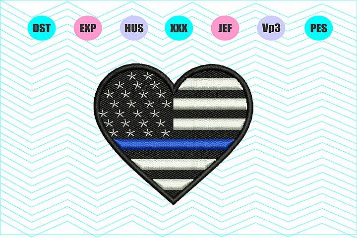 Heart American Flag Thin Blu Line Machine Embroidery Design