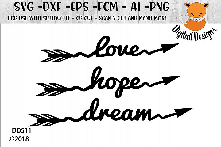 Love Hope Dream Arrows SVG