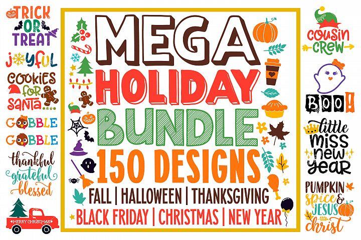 Mega Holiday SVG Bundle of 150 Designs, PNG DXF Cut Files