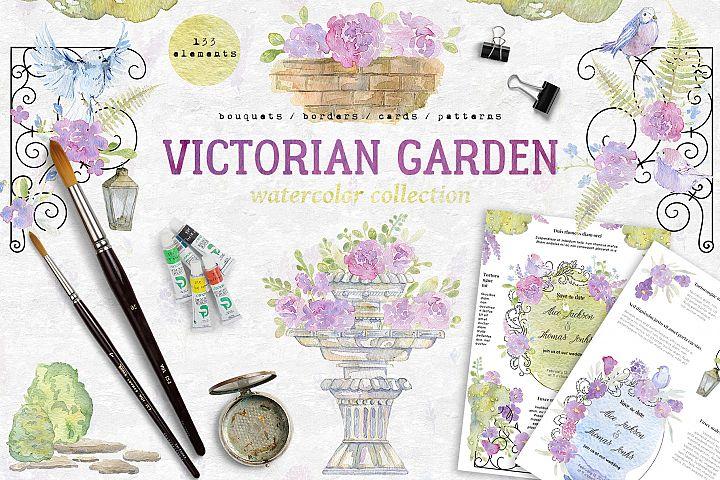 Watercolor victorian garden