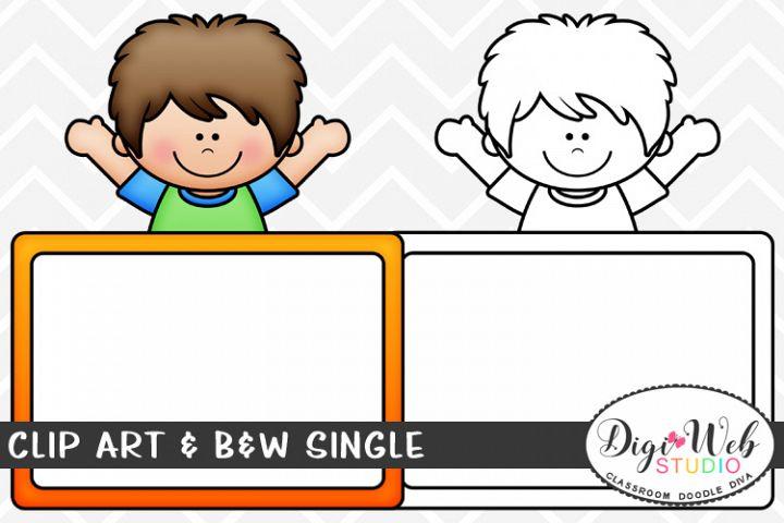 Clip Art & B&W Single - Boy w/ Whiteboard - Dry Erase Board