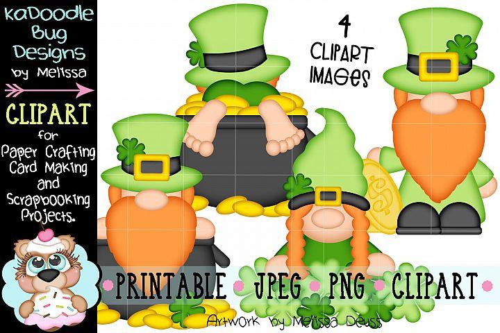 St Patricks Day Gnomes Clipart - 4 JPEG PNG Print Then Cut