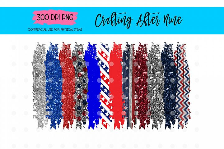 4th of July Paint Brush Stroke Background Bundle