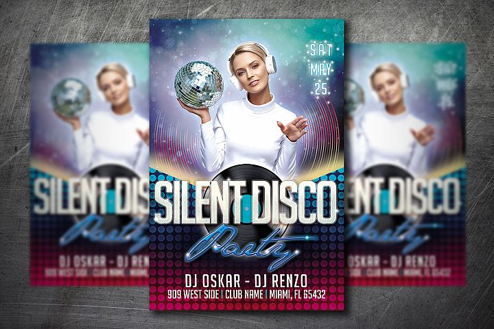 SILENT DISCO PARTY FLYER|Summer Festival Flyer | Template