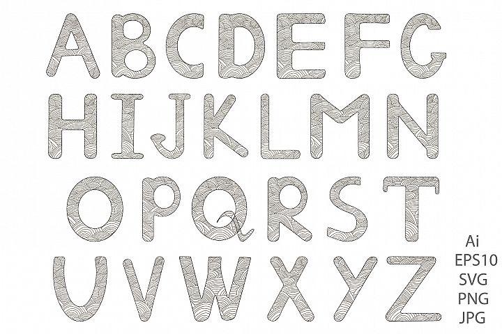Alphabet. Letters A-Z. Coloring.