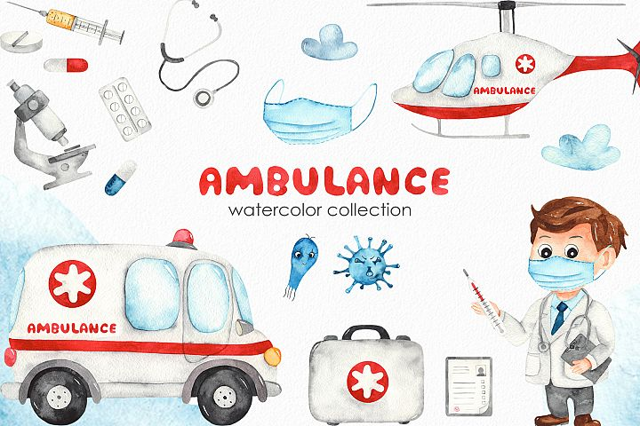 Watercolor Ambulance. Clipart, cards, seamless patterns