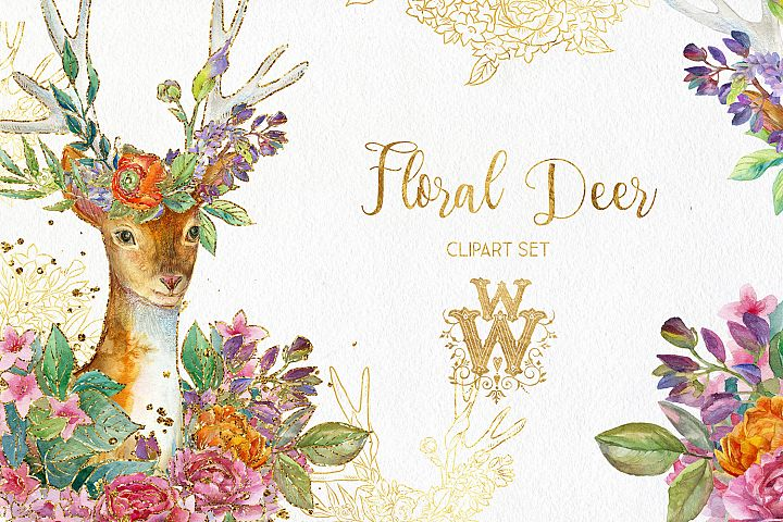 Watercolor floral deer printable clipart, golden graphics example