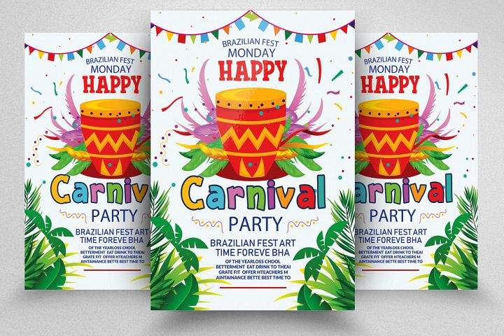 Carnival In Brazil Party Flyer Template