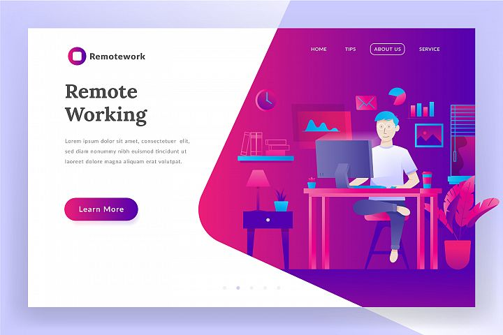 Remote working - landing page illustration
