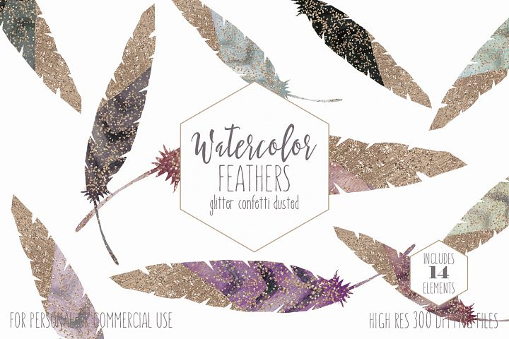 Rose Gold Dipped Feathers Watercolor Graphics