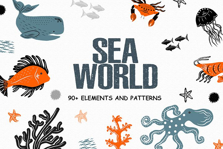 Sea world vector clipart, Fish, coral, crabs, jellyfis