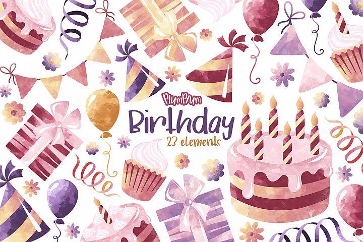 Birthday Watercolor Cliparts