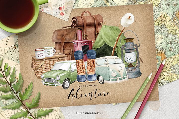 Camping Adventure Clipart and Papers
