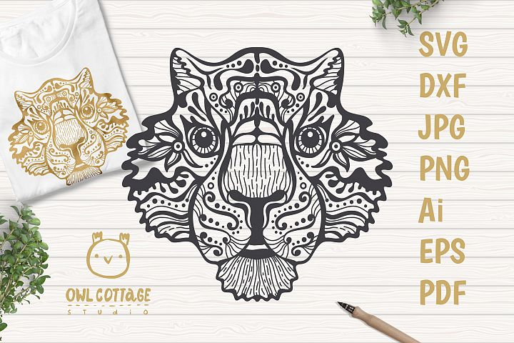Patterned Tiger SVG, Mandala Decor Cut File