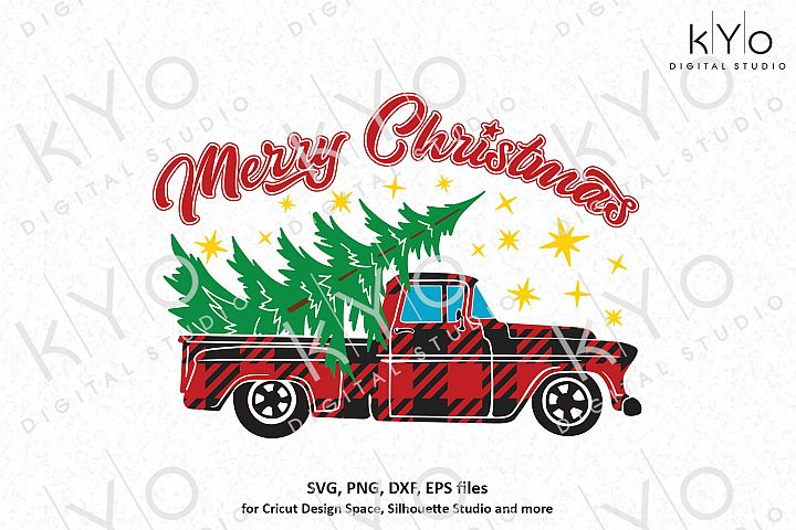 Christmas Buffalo Plaid Old Pickup Truck svg png dxf files