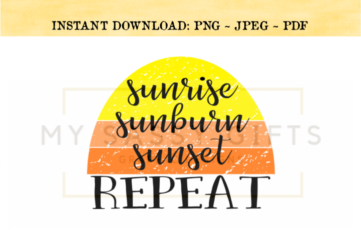 Sunrise Sunburn Sunset Repeat Distressed Clipart PNG