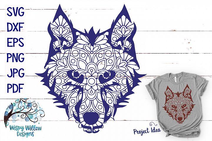 Wolf Face Mandala | Animal Mandala SVG - Free Design of The Week