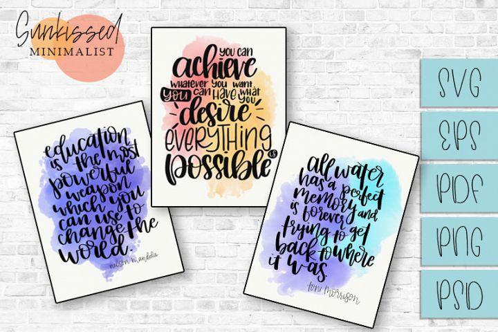 Three Watercolor Quotes