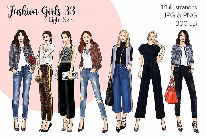Fashion illustration clipart - Fashion Girls 33 - Light Skin