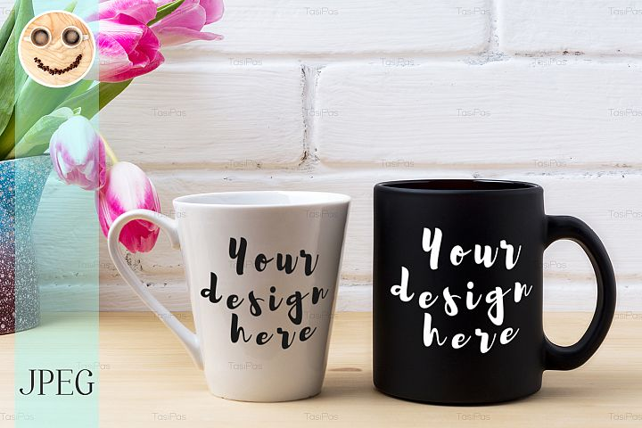 Black coffee cup and white latte mug mockup with magenta