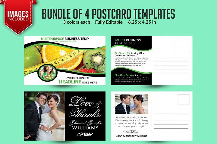 Bundle of 4 Multi Purpose Business PostCards