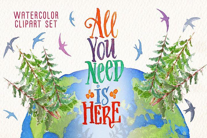 Happy earth day watercolor clip art set