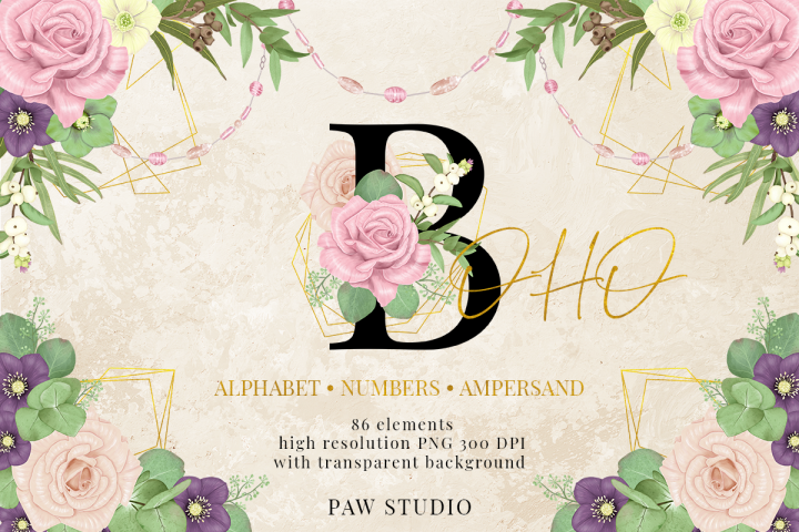 Boho Illustrations Floral Gold Letters Alphabet Numbers