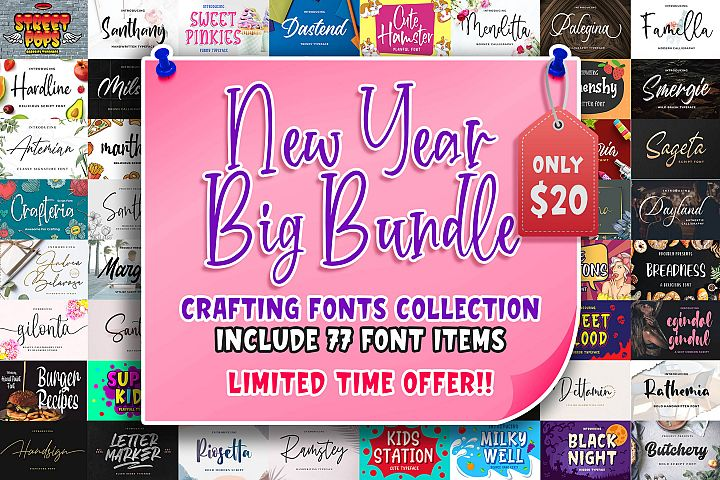 New Year Big Bundle - Crafting Fonts Collection