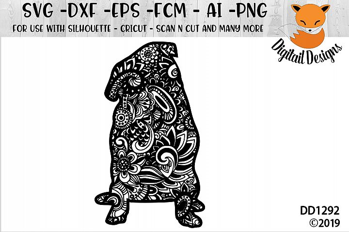 Zentangle Doodle Sitting Pug SVG