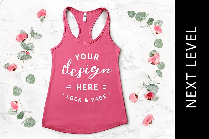 4e3a69bcbed954 Hot Pink Next Level 1533 Mockup Tank Top Vest Floral Marble