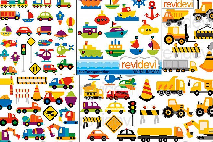 Transportation bundle / cars, trains, boats, contruction trucks graphics