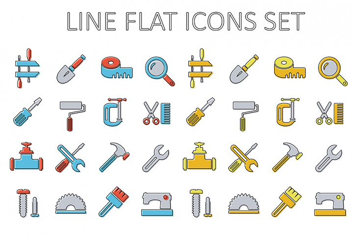 Set of building tools icons Linear