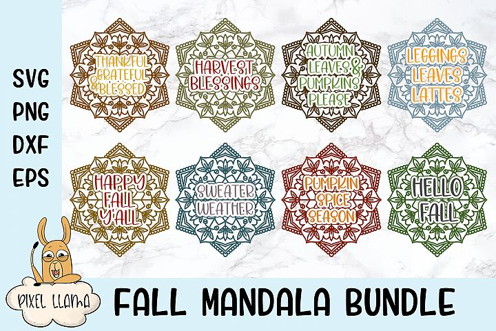 Fall Mandala Bundle of 8 SVGs