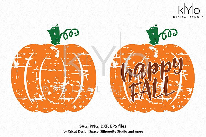 Distressed Pumpkin Happy Fall SVG PNG DXF EPS files