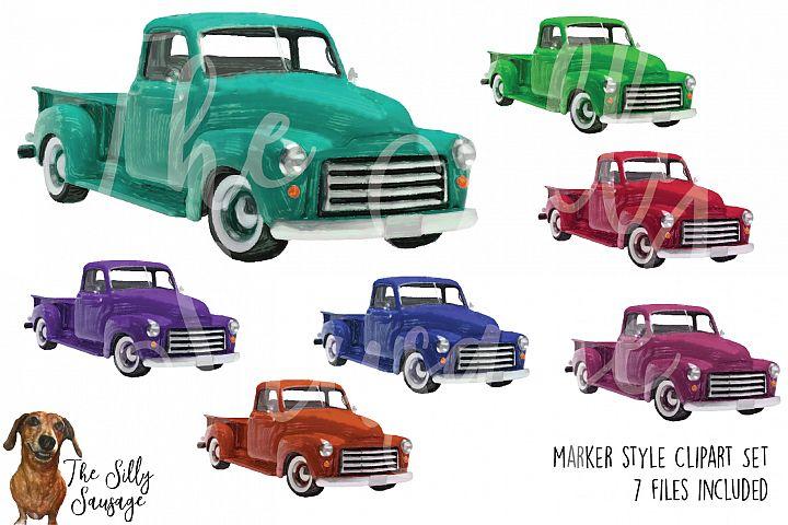 Vintage Trucks Marker Style Clipart