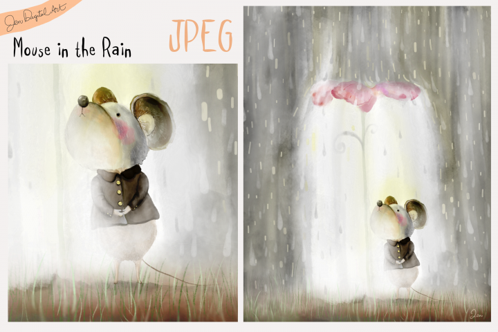 Mouse in the Rain | Whimsical Storybook Illustration | JPEG