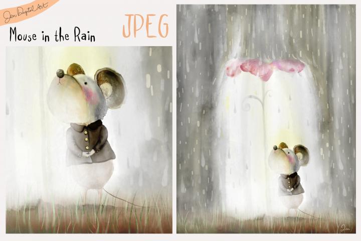 Mouse in the Rain | Cartoon/Storybook Illustration | JPEG