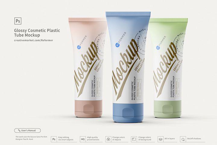 3 Glossy Cosmetic Plastic Tube Mockup