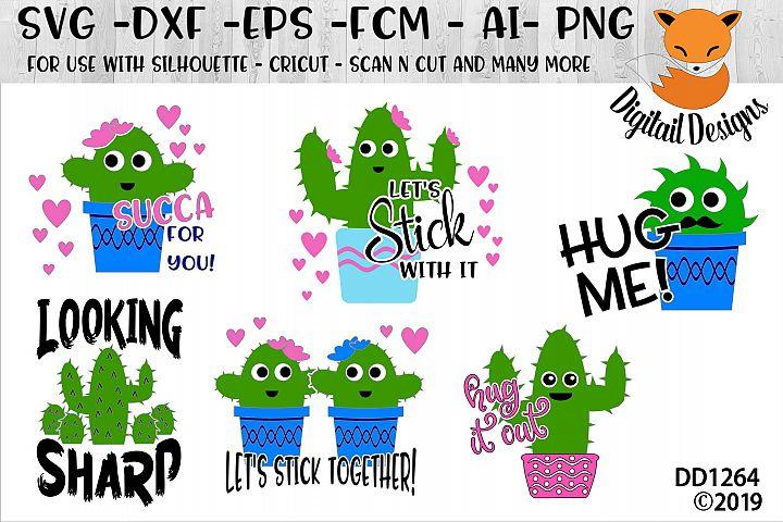 Funny Cactus Valentine SVG Bundle