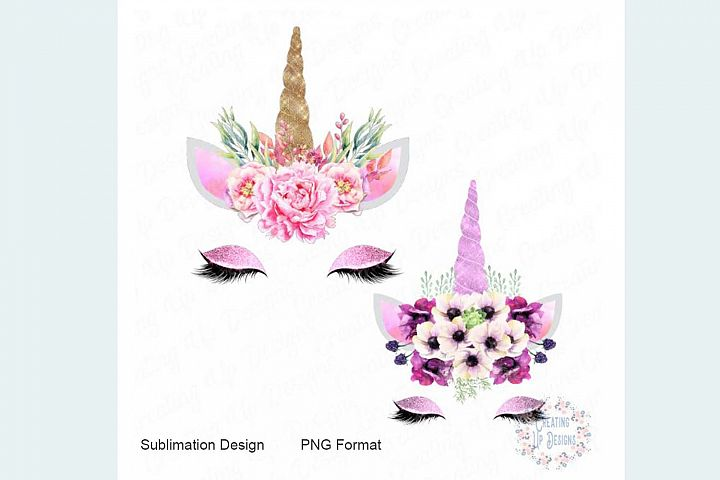 Pink and Purple Unicorn with Flowers PNG
