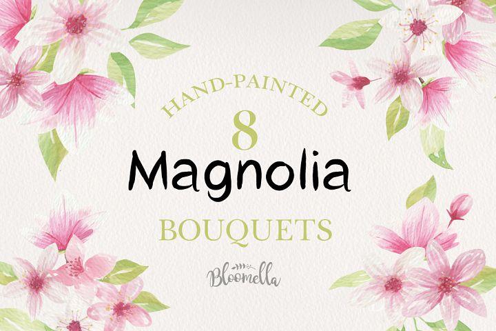 Magnolia Floral 8 Bouquets Watercolor Flowers Pink Lime