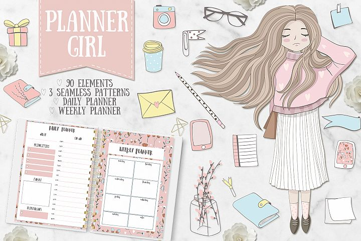Planner Girl Clipart. Weekly & daily