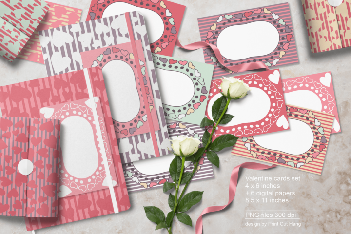 Blank Valentine Cards with Hearts Lines and Hexagons PNG