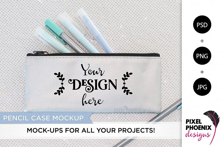 Pencil Case Mockup with minty blue hues