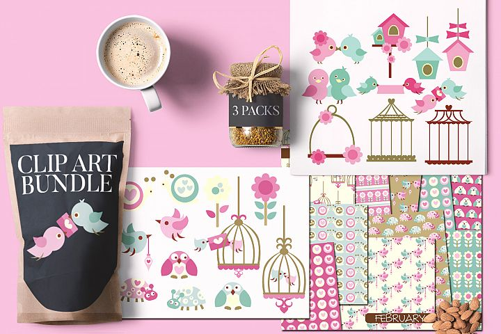 Valentine Bundle, Love Birds and Birdcages