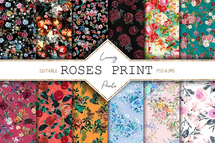 Roses Digital Print | 12 Seamless Flowers