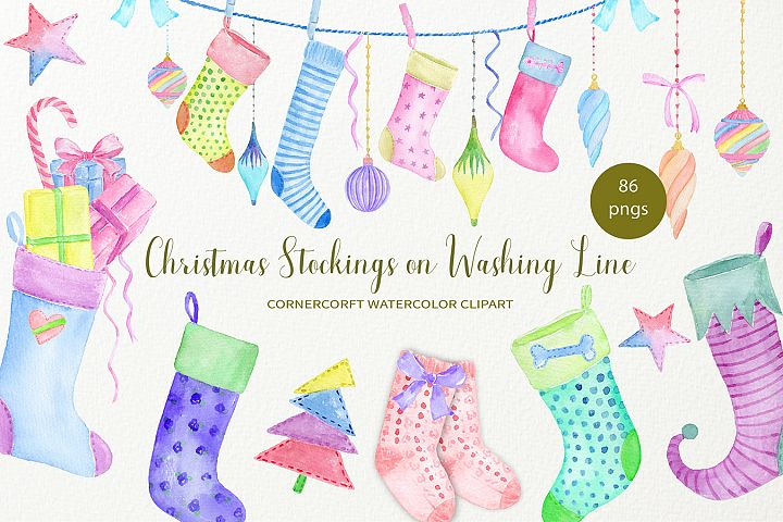Hand painted watercolor Christmas Stockings on washing Line