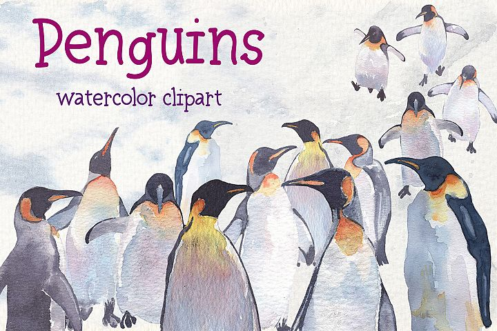 Penguins watercolor clipart example image 2