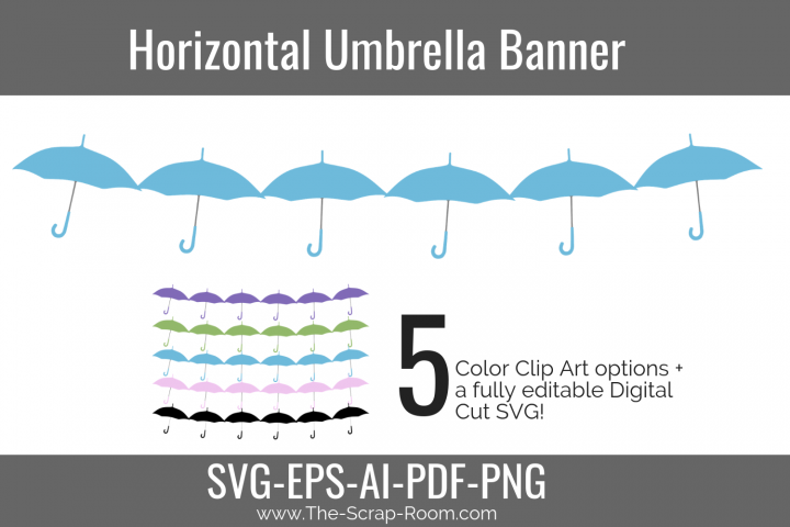 Horizontal Umbrella Banner -Baby Shower Banner Embellishment