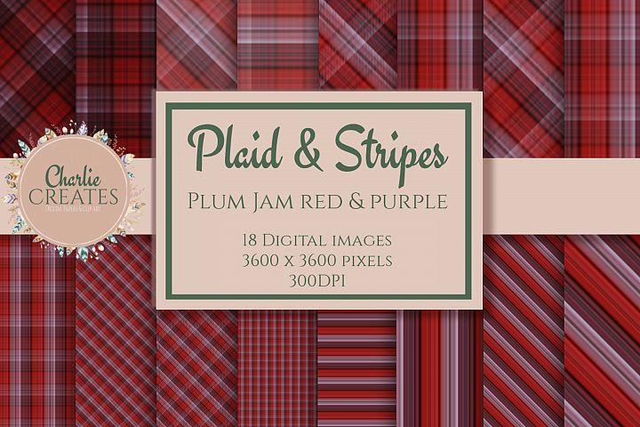 Plaid & Stripes - Plum jam